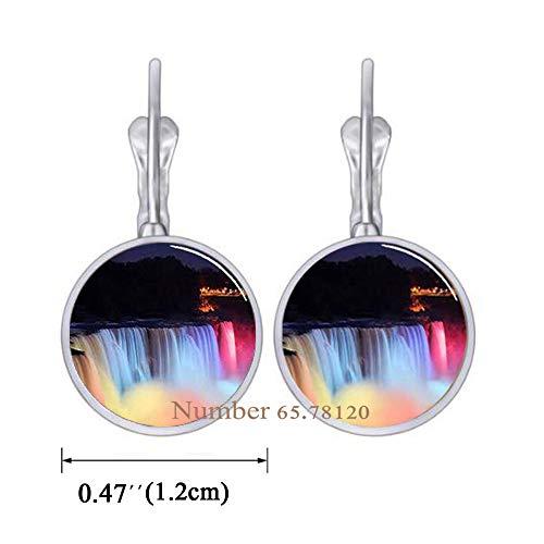 Yijianxhzao Niagara Falls at Night Dangle Earrings,Photo Earrings,Wedding Jewelry Glass Jewelry, BV143 (V1) ()