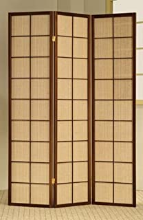 fabric in lay folding room screen divider in espresso cappuccino finish wood 3 panels