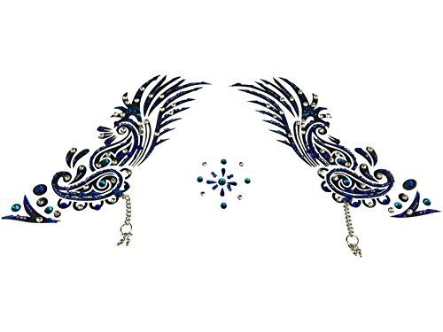 Stone Angel Costume (Rhinestone Body Jewelry w Self Adhesive Crystal Gem Stones Temporary Costume Tattoo Sticker Stylish Bindi Art (Angel Wings)