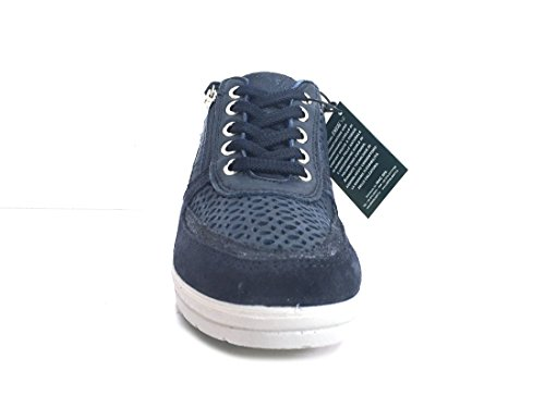 ENVAL SOFT 12660 Notte Scarpa Donna Sneaker Zeppa 5 con Zip Pelle Made in Italy