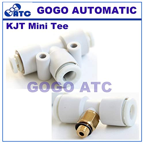Fevas SMC Type KJT Mini Tee Male Branch/Union/Dfferent Diameter Tee Miniature T-Type Three Way Fitting Pneumatic Components - (Color: KJT04-01S) 01s Male Branch Tee