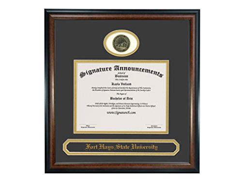 Signature Announcements Fort-Hays-State-University Undergraduate, Professional/Doctor Sculpted Foil Seal & Name Graduation Diploma Frame 16