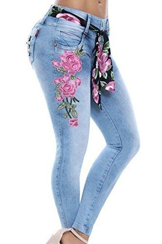 Yulinge Ragazzo Jeans Blu Floreale Donne Le Taglia g1xEWvrwgq