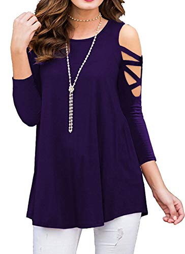 Kancystore Women's Strappy Cold Shoulder Blouse Three-Quarter Sleeve Tunic Tops (Purple, XL)