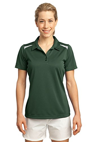 Sport-Tek Ladies Vector Sport-Wick Polo>XXL Forest Green/White LST670
