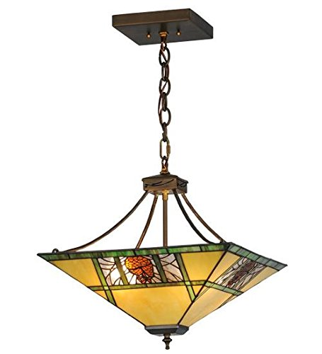 Meyda Tiffany Custom Lighting 68064 Pinecone Ridge 4LT Pendant, Antique Copper Finish with Bone Beige, Moss Green, and Bark Brown Stained Glass