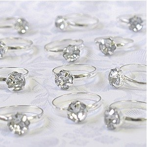 Silver Engagement Rings for Table Decorations or Favor Accents - pack of 12 - Decorations Rings Party Favors
