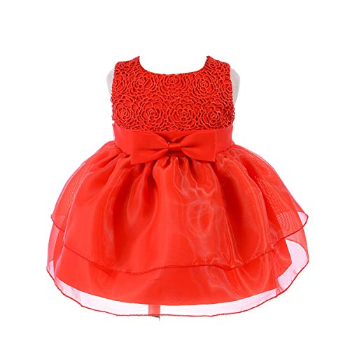 Baby Girl Dress Infant Flower Lace Wedding Party Dresses for 0-24 Months Summer Girls Dresses Elegant Party Dresses (XN009,Red,XL) -