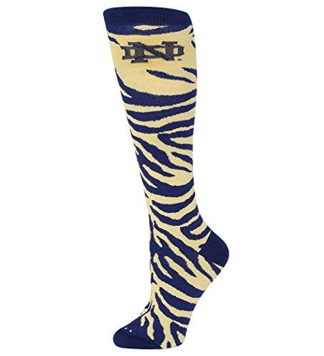 (For Bare Feet NCAA Ladies Zebra Print Knee Sock-Size-Medium-Notre Dame Fighting Irish)