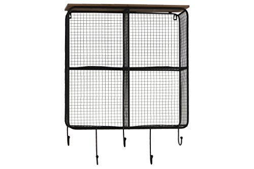 Urban Trends Metal Wall Wood Top, 4 Slots, Mesh Backing and Sides, and 5 Hooks Coated Finish Black Shelf from Urban Trends