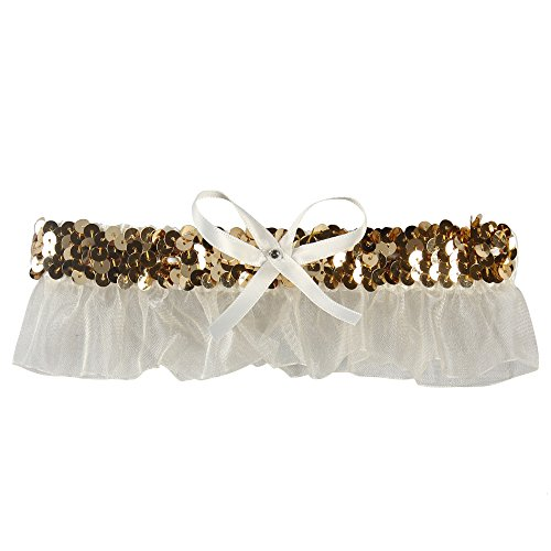 Ivy Lane Design Evelyn Garter with White Bow, Ivory/Gold