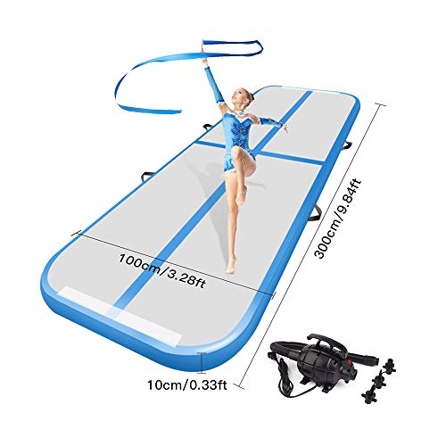 TIGER AVENUE Blue Inflatable 10 Foot Air Track Gymnastics Mat for Home with Electric Air Pump for Inflatable Air Track. Use Tumbling Mat for Cheerleading, Beach, Martial Arts and Air Floor Gymnastics