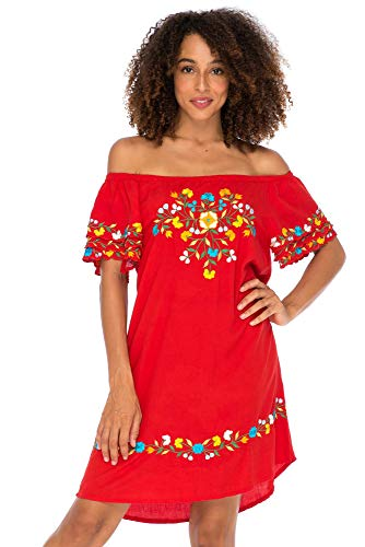 - Back From Bali Womens Off Shoulder Short Mexican Embroidered Dress Floral Boho Peasant Dress Tunic Top Red X-Large