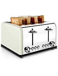 4 Slice Toaster Stainless Steel, CUSIBOX Bagel Toaster Extra-Wide Slots with 6 Bread Browning Settings, BAGEL/DEFROST/CANCEL Function, 1650W, Cream