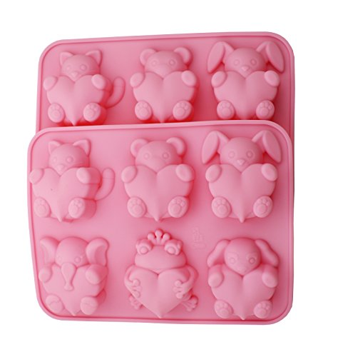 Zicome Silicone Handmade Soap and Bath Bomb Making Mold Set of 2, Animal Shape