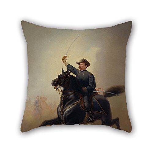 (Slimmingpiggy 18 X 18 Inches / 45 By 45 Cm Oil Painting Thomas Buchanan Read - Philip Henry Sheridan Throw Pillow Case Two Sides Ornament And Gift To Bedding Adults Lounge Office Dinning Room Her)