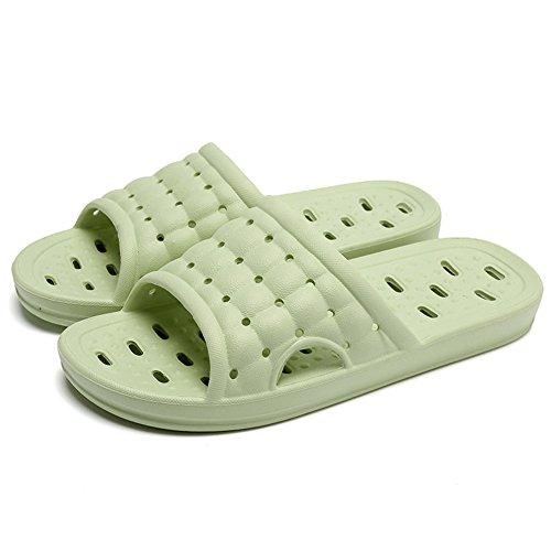 Men's and Women's Non-Slip Bathroom Shower Slippers With Foot Massage Fashion Sandal Light Green j5To7