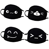 FunPa 4Pcs Mouth Mask Cute Dust Proof Mouth Cover Cartoon Anti Dust Cotton Face Mask Facial Mouth Mask for Running Cycling Face Women Men Outdoor
