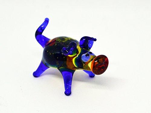 Blue glass pig figurine animals glass Peppa pig miniature art glass pigs toy murano piggy animals pig figure glass gifts pigs sculptures Christmas (Murano Glass Pig Figurine)
