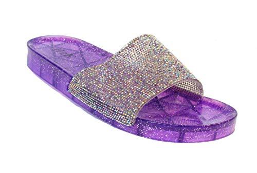 Hope Rhinestone - H2K Women's Crystal with Rhinestone Bling Glitter Open Toe Slide Sandal Flat Jelly Shoes Sunny (10 B(M) US, Purple II)