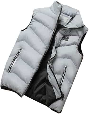 aa2cf030555 Agana Men's Warm Stand Collar Puffer Vest Padded Quilted Winter Down Vest