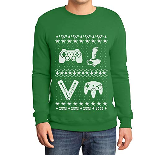 Joystick maglione Videogame Da Uomo Felpa Ugly Shirtgeil Verde Vintage Sweater Uq50UAn