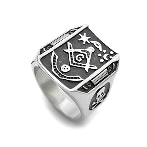 Stainless Steel Ring for Men, Freemason Ring Gothic Black Band Silver Band 21MM Size 9 Epinki