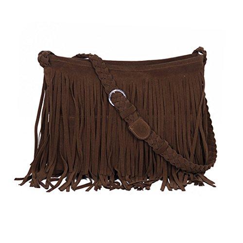 Goodbag Women Girl Faux Suede Fringe Tassel Messenger Bag Hippie Shoulder Bag Fashion Hobo Crossbody Bag Purse (kb1005coffee)
