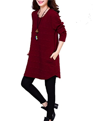 Casual 158 Larga T Rosso Chff888 Manica Pocket Lunga T Maglione Nuovo Donna shirt OxqwptF