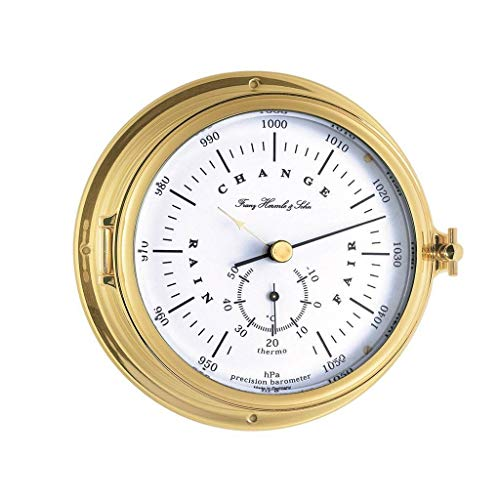 Qwirly Store: Annapolis Hanging Barometer and Thermometer 90009000040 for Home or Garden Decor by Hermle - - Clock Hermle Brass