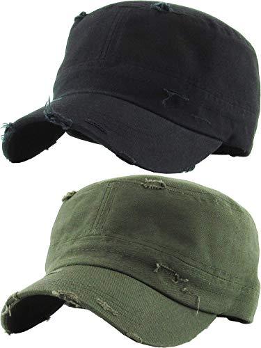 H-217-2-D0633 Cadet Hat 2-Pack: Distressed Black & Olive ()