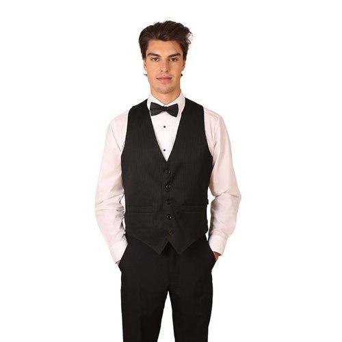 Men's Black Pinstripe Cotton Vest Large
