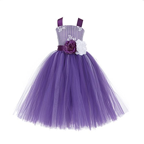 ekidsbridal Wedding Pageant Tutu Criss-Cross Back Lace Tulle Flower Girl Dress Tulle Toddler Special Occasion Gown Party 119F