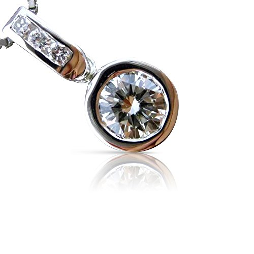 Milano Jewelers .75CT DIAMOND 14KT WHITE GOLD 3D SOLITAIRE BEZEL FLOATING PENDANT #21634