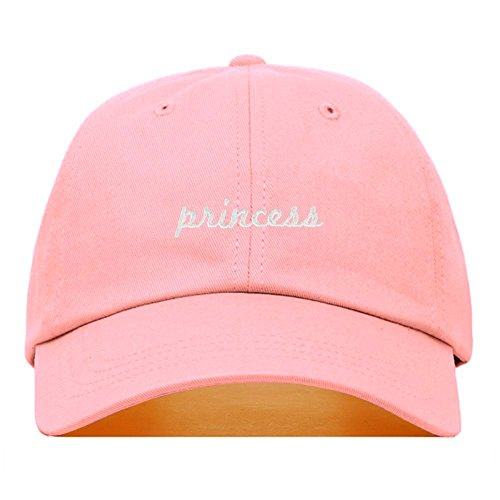 Princess Dad Hat, Embroidered Baseball Cap, 100% Cotton, Unstructured Low Profile, Adjustable Strap Back, 6 Panel, One Size Fits Most (Multiple Colors) (Light Pink)