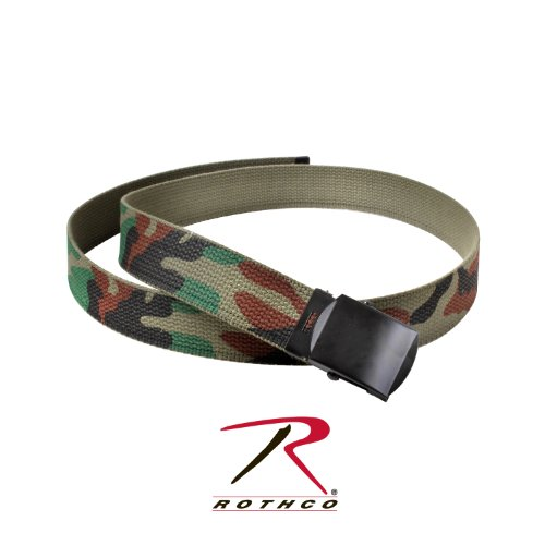 Olive Reversible Belt (Rothco Camo Reversible Web Belt, Woodland Camo / Olive Drab, 44 Inches)