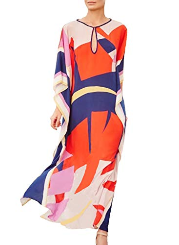 Caftan Ethnic - Chunoy Women Color Block Bathing Suits Cover Up Ethnic Print Kaftan Beach Maxi Dress
