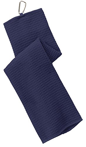 Port Authority Waffle Microfiber Golf Towel, True Navy, OSFA