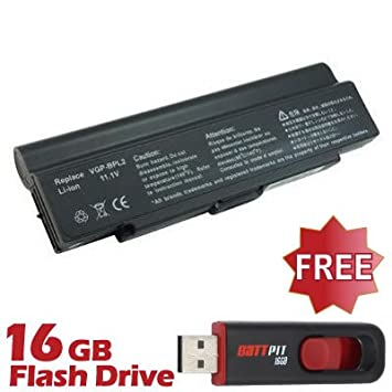 Battpit Recambio de Bateria para Ordenador Portátil Sony VAIO VGN-SZ5XN/C (6600 mah) Con memoria USB de 16GB GRATUITA: Amazon.es: Electrónica