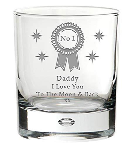 cadeau pour un anniversaire de p/ère Verre /à whisky avec le message /«/No1/Daddy I Love You to the Moon and Back//» No/ël