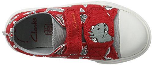 Clarks Tricer Roar Jungen Sneakers Rot (Red Print)