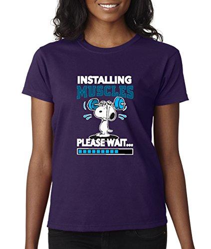 - New Way 433 - Women's T-Shirt Installing Muscles Please Wait Snoopy Peanuts Workout Training Gym 2XL Purple