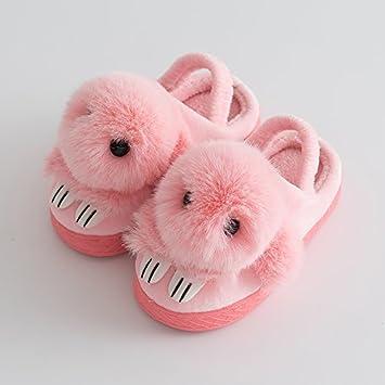 Kinder Hausschuhe aus Baumwolle Winter Jungen und Mädchen kleine Prinzessin cute Cartoon warm plus samt Rutschfeste weiche, flauschige Baumwolle und, 36-37, Mädchen in rosa
