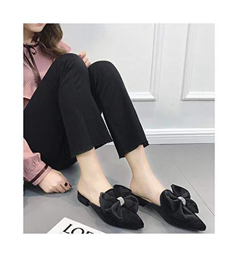 Flat Nero Zhaoxiangxiang Bow Baotou Usura Esterna Fashion Bout R55q1Pvw 150cafb78af