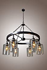 Wagon Wheel Mason Jar Filament Glass Chandelier 6 Light Country Rustic Style