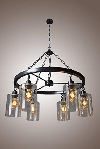 wagon wheel lighting. wagon wheel mason jar filament glass chandelier 6 light country rustic style lighting d