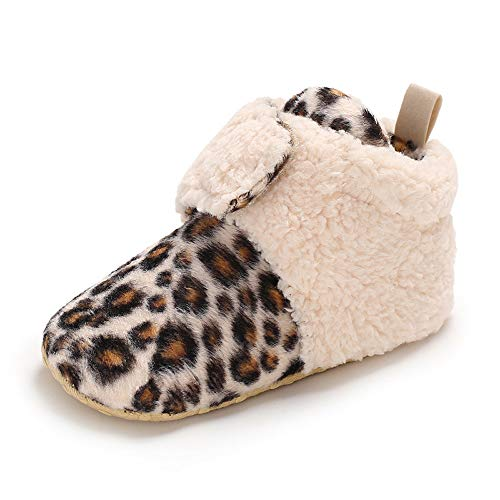 Tutoo Christmas Baby Boys' Girls' Shoes Cotton Cute Animals Slippers Prewalker Newborn Infant Crib Shoes (5.1 inches(12-18 Months), C-Leopard Grain) ()