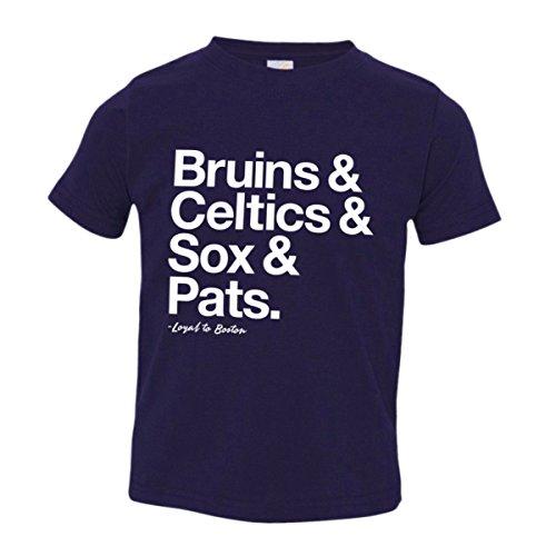(Toddler Loyal Bruins Celtics Red Sox Pats Sports Ball Tee Navy-4)