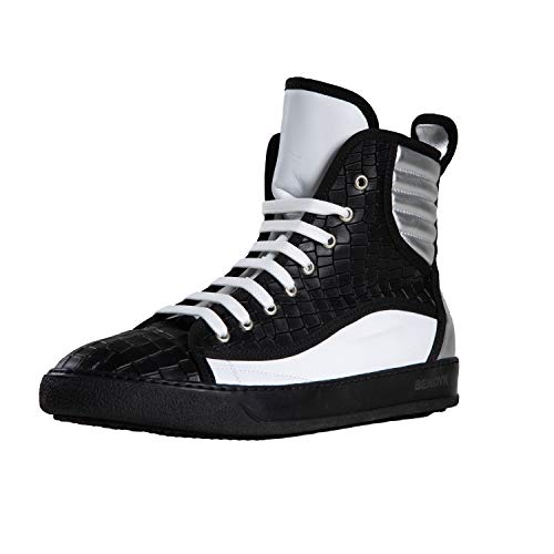 Bendyk Top Rebell, Exclusive high top Sneaker for Men, Made in Italy, Calfskin with Crocodile Leather Texture, Black, 40