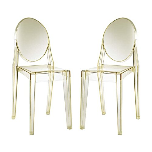 Casper Dining Chairs Set of 2, Two Side, Yellow - Modway EEI-906-YLW